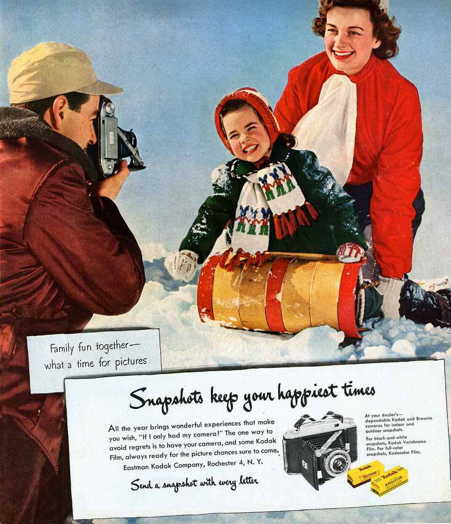 Propaganda da Kodak nos Estados Unidos, de 1952. Fonte: George Eastman Legacy Collection, George Eastman House.