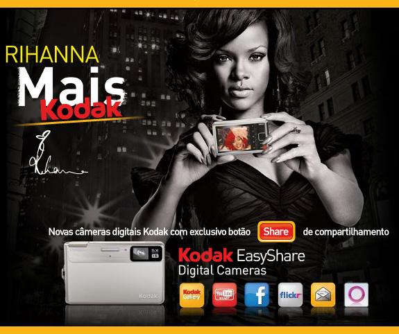 Anúncio da Kodak de 2012, dando destaque a função de compartilhar de suas câmeras.